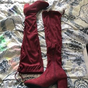 Burgundy suede knee high boots